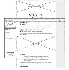 wireframe illustration of immersive report website