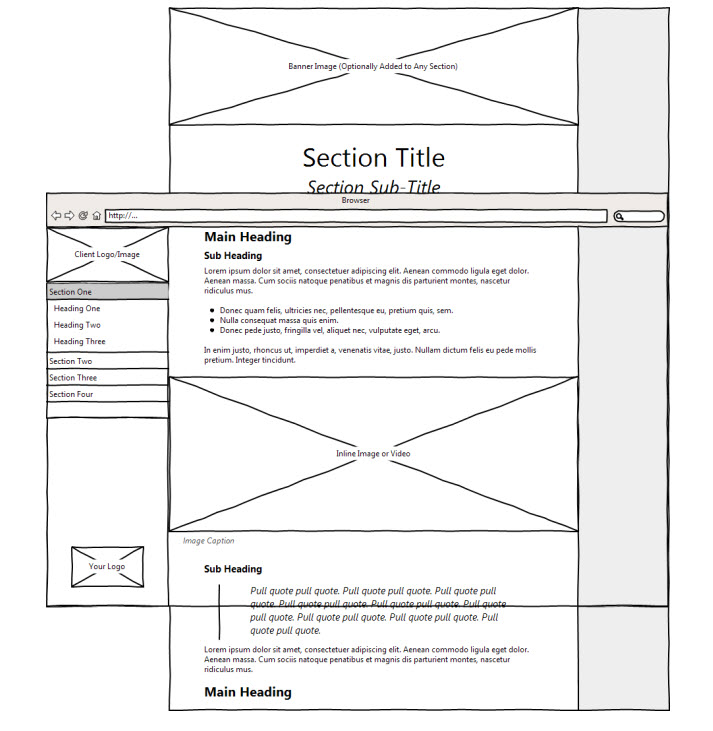 wireframe illustration of immersive report website